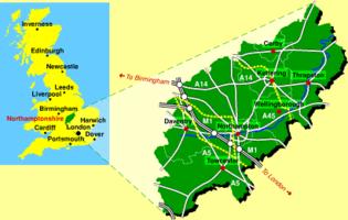 Lage Grafschaft Northamptonshire
